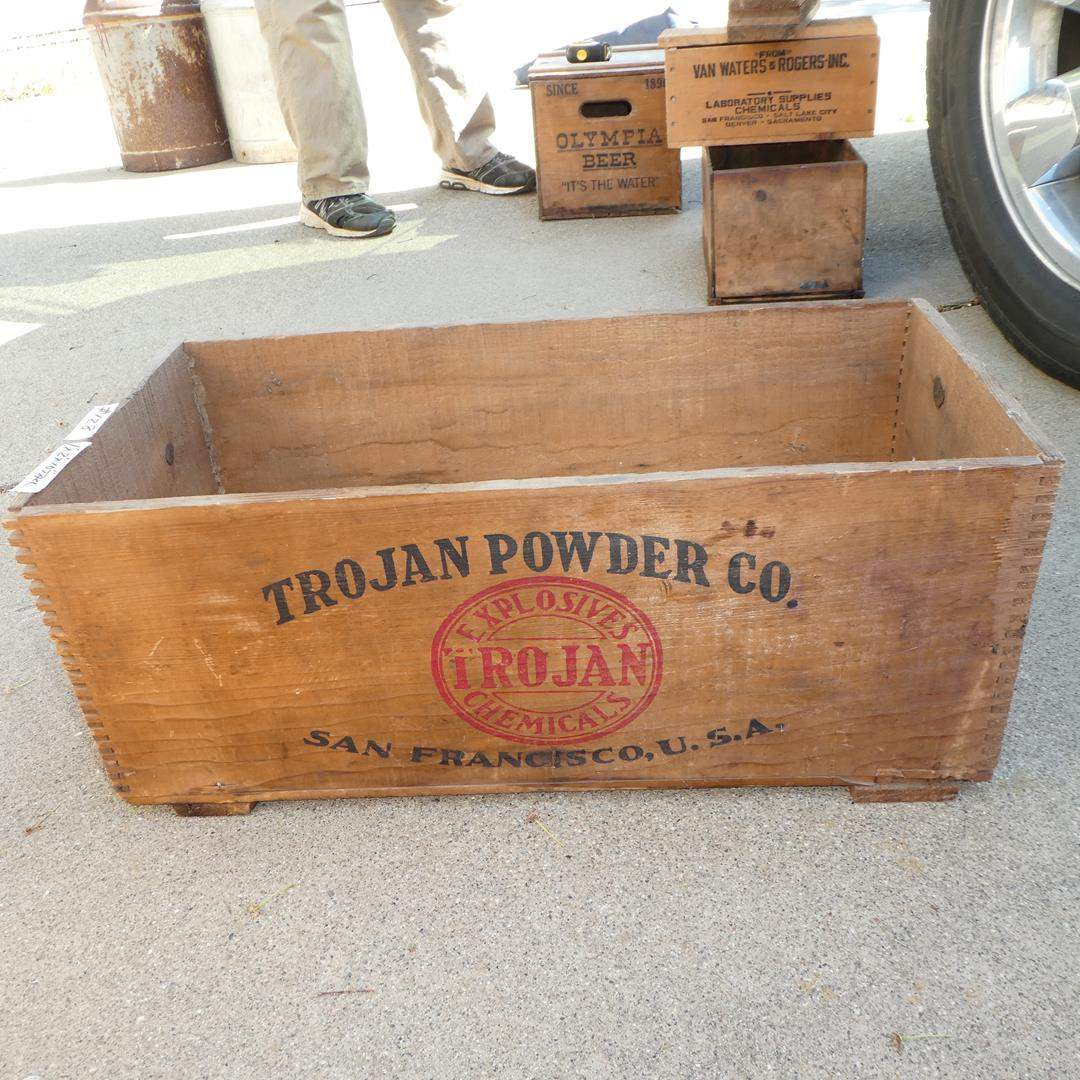 Lot # 128 - Vintage 'Trojan Powder Co.' Low Explosives Wooden Crate (main image)