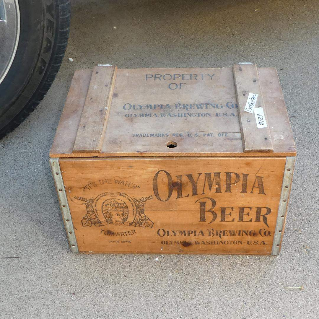 Lot # 129 - Vintage 'Olympia Beer' Wooden Crate w/Lid (main image)