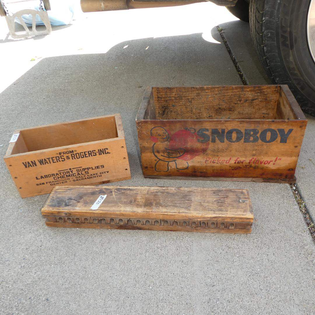 Lot # 130 - Two Vintage Wooden Crates & Wooden Mold (main image)