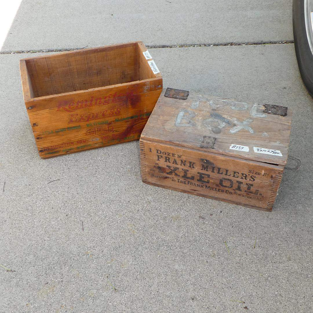 Lot # 134 - Vintage 'Remington' Express & 'Frank Miller's' Axel Oil Wooden Crates (main image)