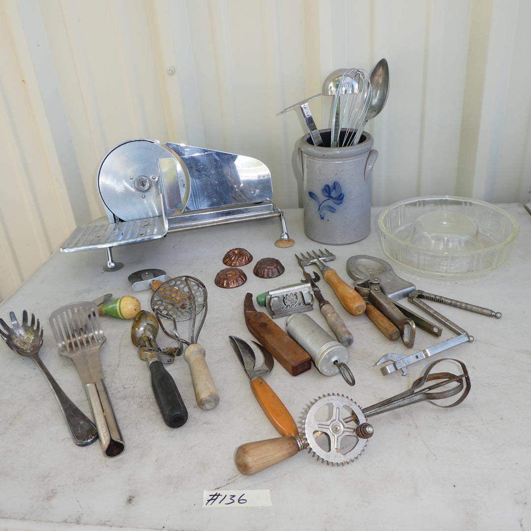 Lot # 136 - Manual Slicer, Angel Food Cake Pan & Utensils - Some Vintage (main image)