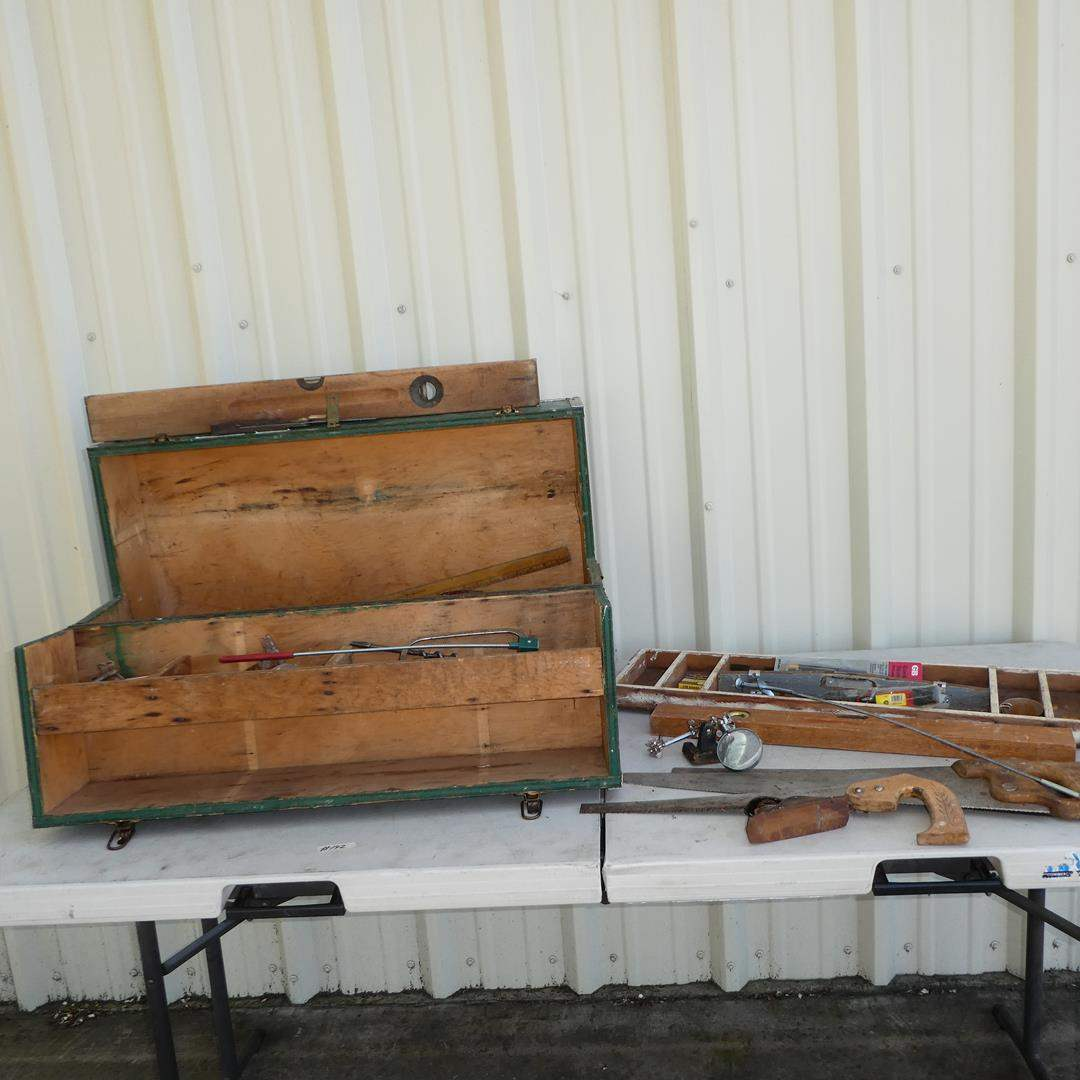 Lot # 142 - Old Wooden Tool Box & Hand Tools (main image)