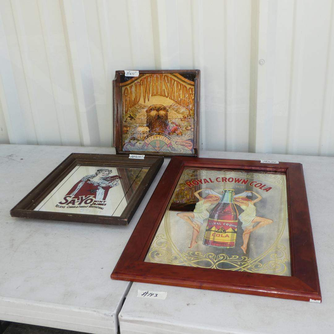 Lot # 143 - Vintage 'Old Whiskers' Hefeweizen Beer Advertising Tray & Two Framed Vintage Advertising Mirrors (main image)