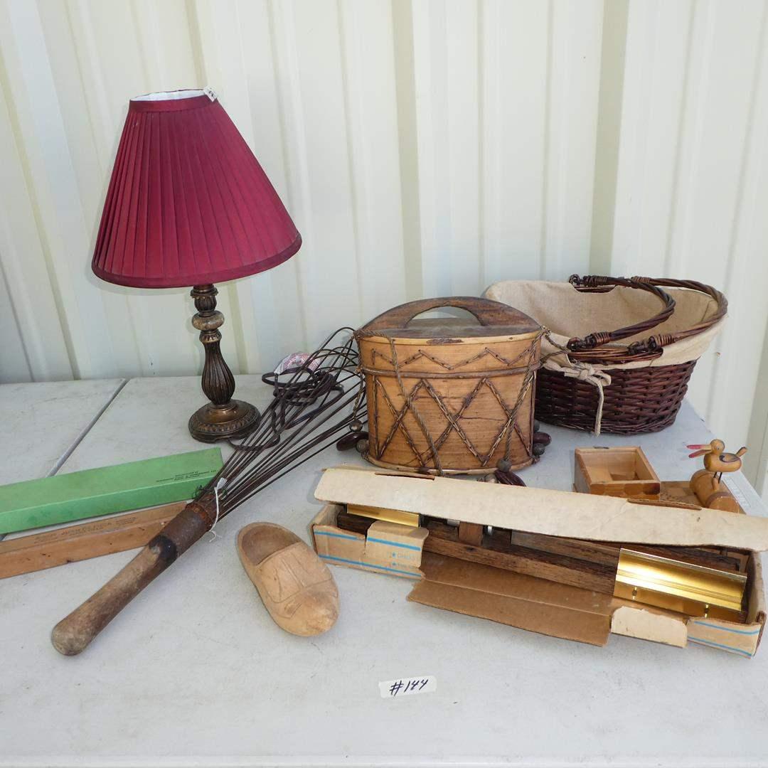 Lot # 144 - Small Dresser Lamp, Horseshoe Repair Tool, Rug Beater, Bark Basket, Texas Native Nutcracker, Indian Print & More  (main image)