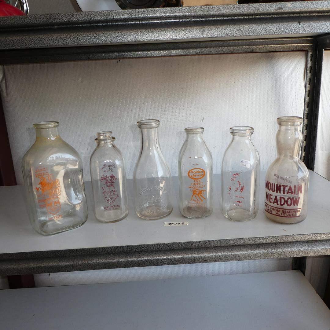 Lot # 148 - Vintage Glass Dairy Milk Bottles Collection (main image)