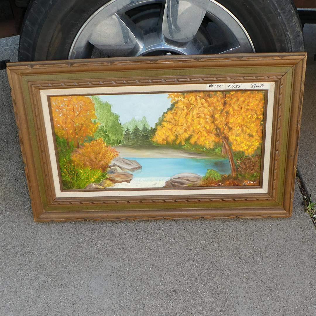Lot # 150 - Framed Vintage Original Oil on Canvas by Audine (main image)