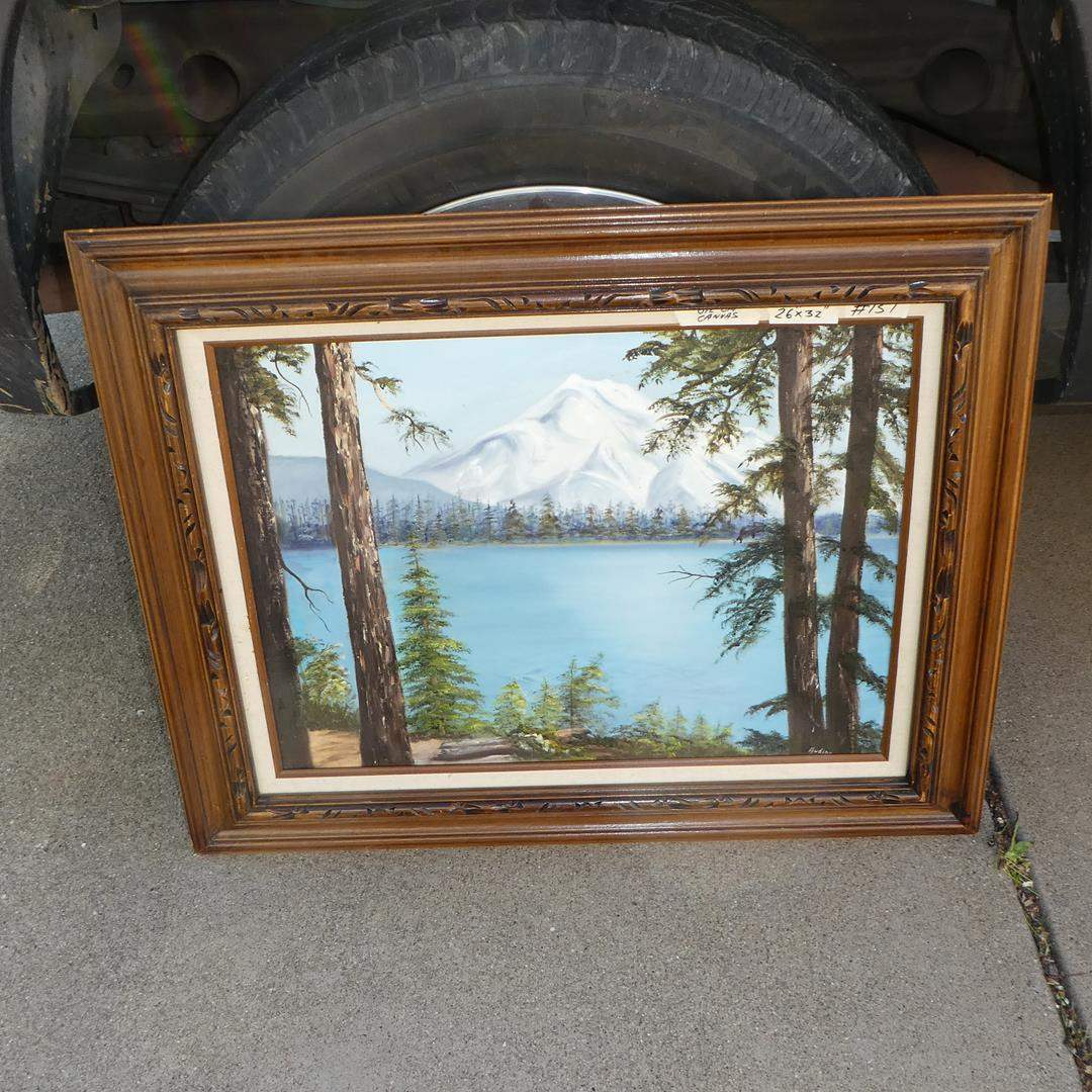 Lot # 151 - Framed Vintage 1982 Mountain Scene Original Oil on Canvas by Audine  (main image)