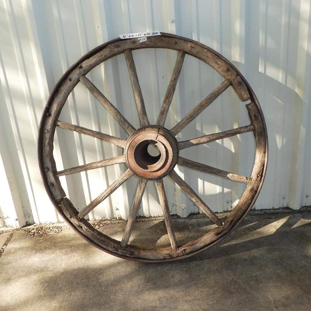 Lot # 155 - Antique Primitive Western Wagon Wheel (main image)