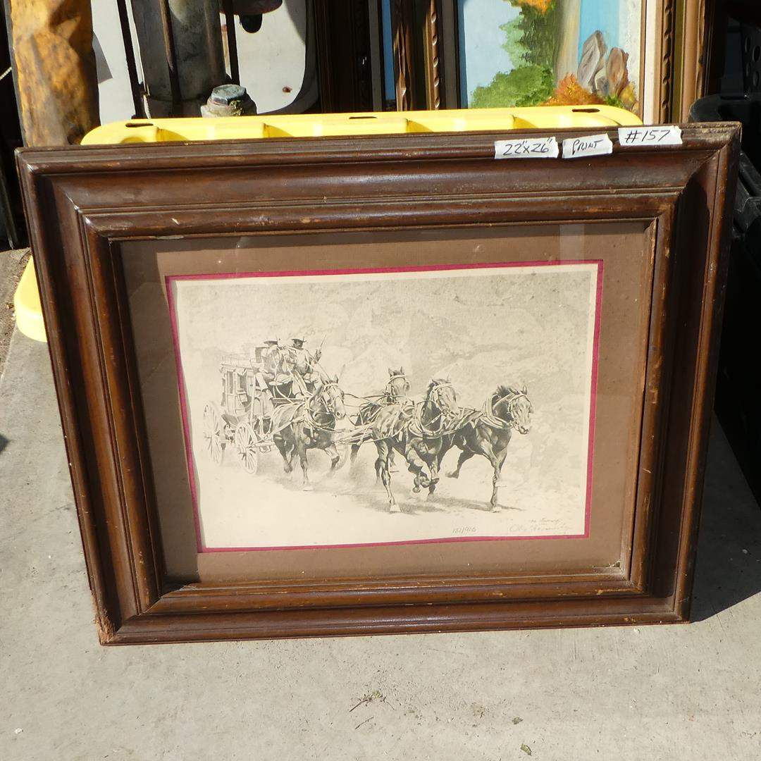 Lot # 157 - Framed Vintage 'Oleg Stavrowsky' Signed Numbered Lithograph 132/925 w/Certificate of Authenticity (main image)