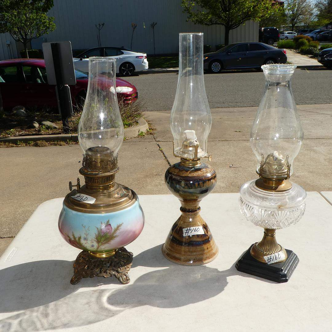 Lot # 160 - Hand Painted Glass Oil Lamp, Glass Oil Lamp & Pottery Oil Lamp (main image)