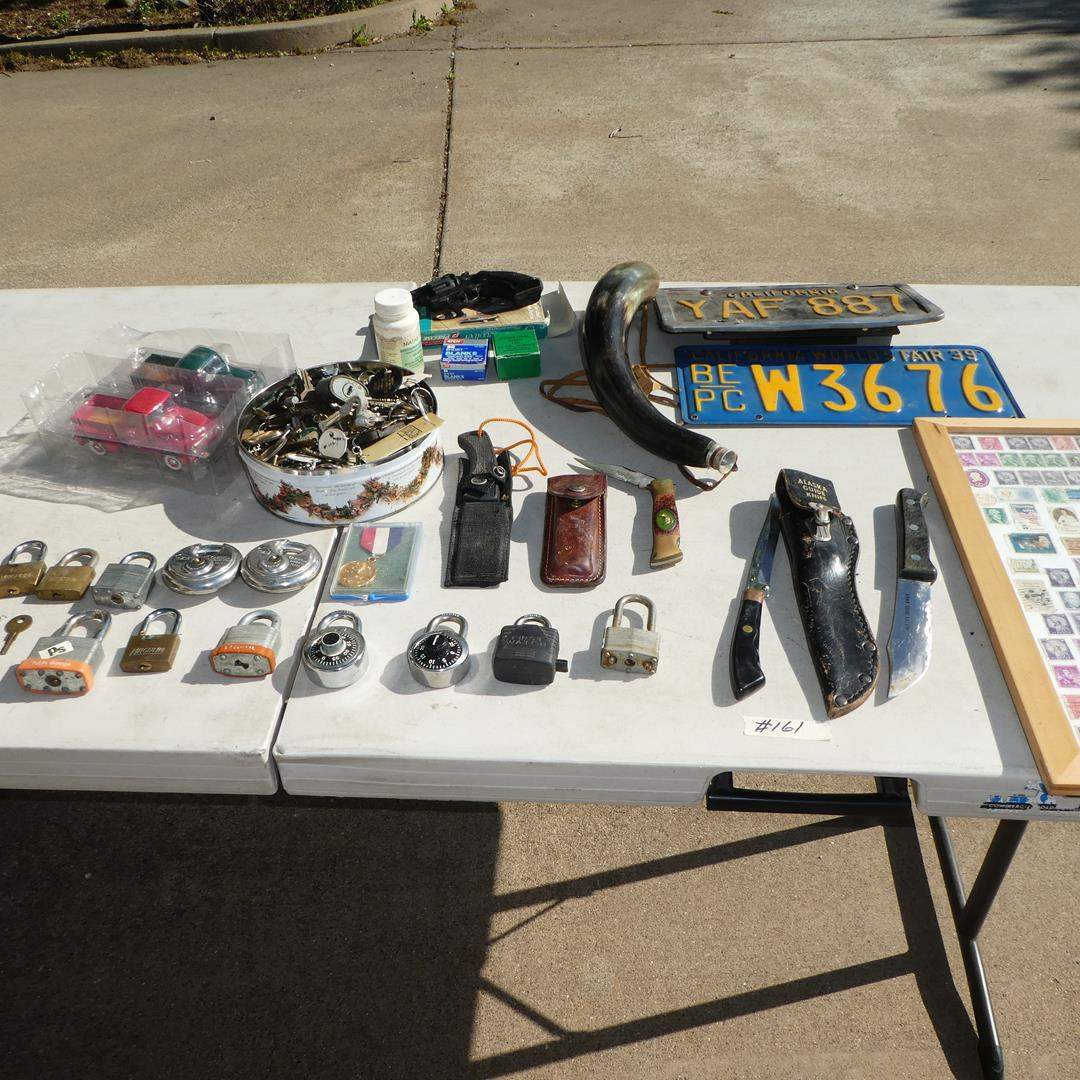 Lot # 161 - Precise Starter Revolver, Toy Trucks, Locks, Keys, Knives, Powder Horn, License Plates & Framed Stamps (main image)