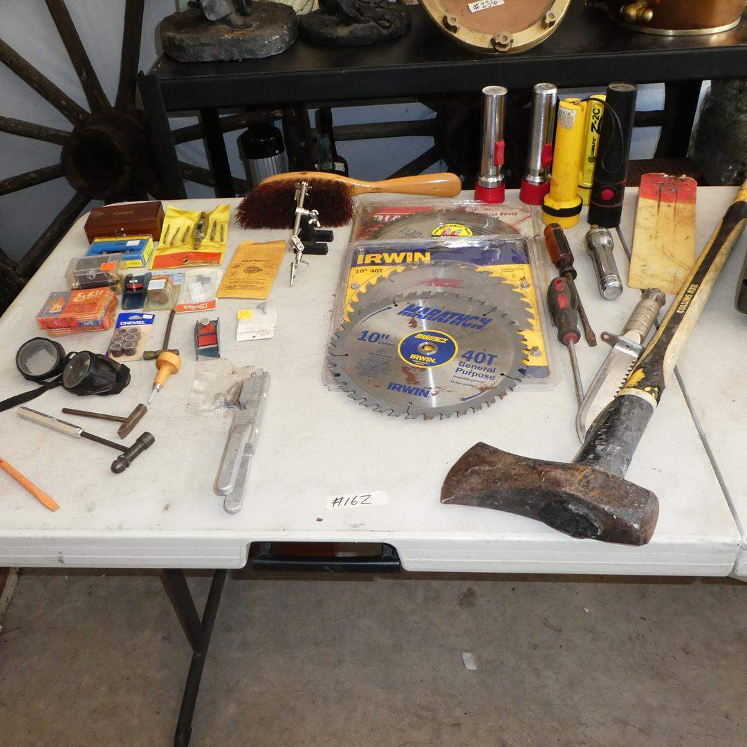 Lot # 162 - Coleman Propane Camping Stove, Mini Tap & Die Set, Hammers, Planes, Flashlights, Axe & Circular Saw Blades (main image)