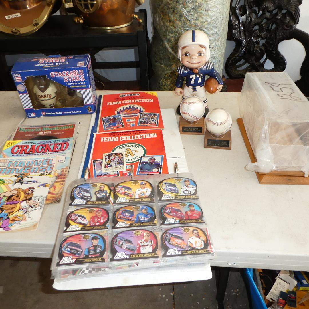 Lot # 163 - Stackable Stars Nesting Dolls, 'Donruss' Puzzle & Cards Team Collection, Nascar Cards & Signed Baseballs (main image)