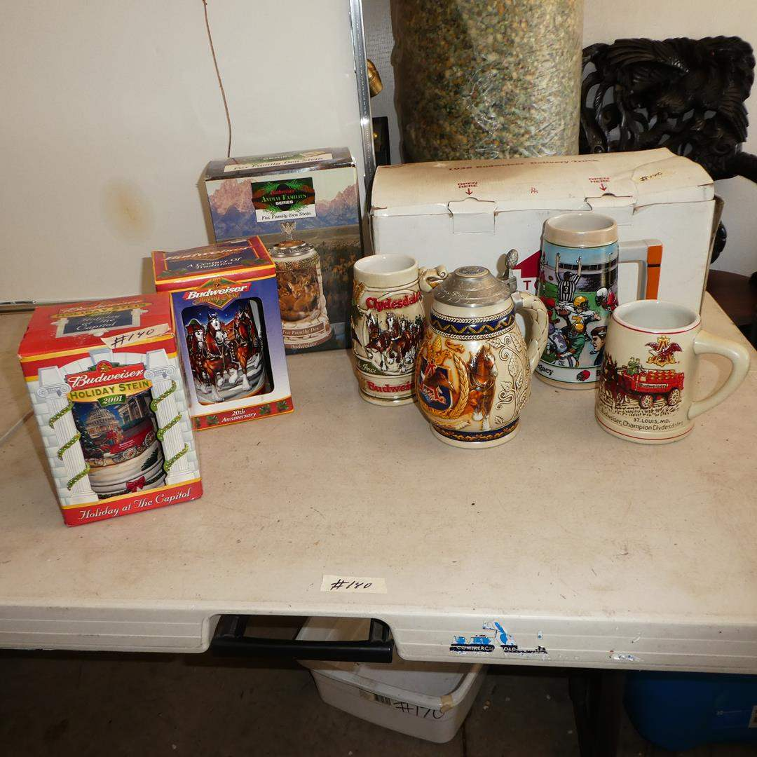 Lot # 140 - Vintage Budweiser Mugs, Steins & Toy Budweiser Delivery Truck (main image)