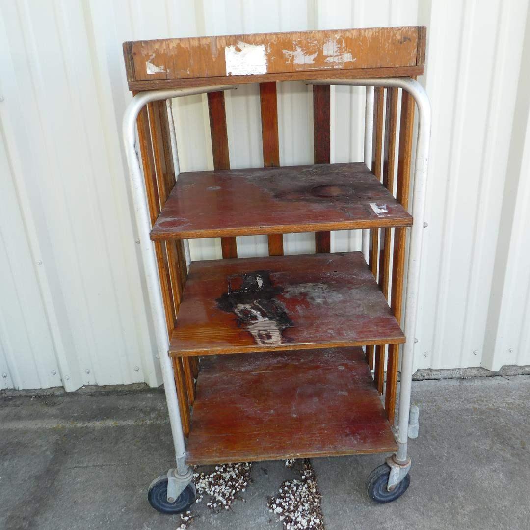 Lot # 166 - Vintage 'The Wiethoff Company' Industrial Shelf Cart on Wheels (main image)