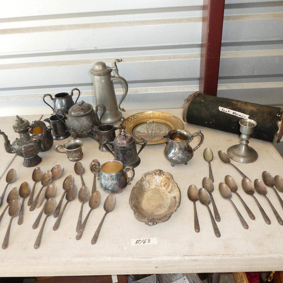 Lot # 168 - Vintage Silver Plate Serving Pieces, Spoons & Antique Car/Buggy Foot Warmer (main image)