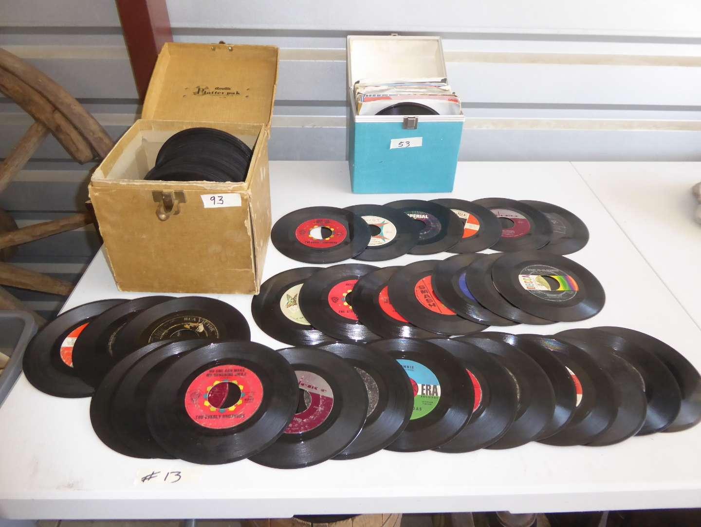 Lot # 13 - (145) 45's W/Album Storage Boxes  (main image)