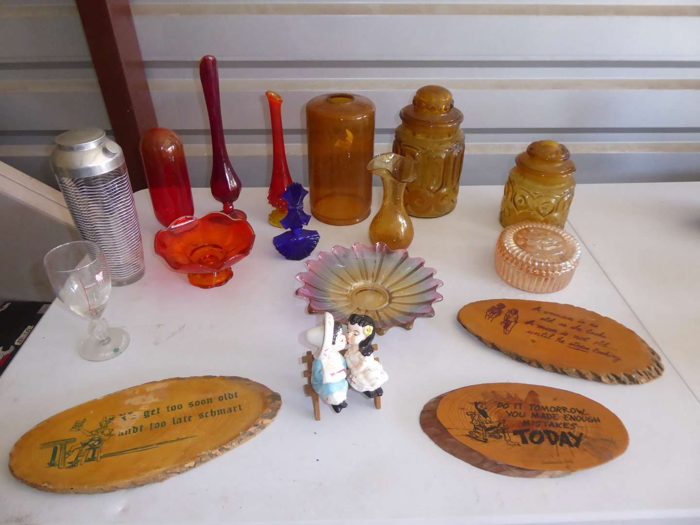 Lot # 23 - Colorful Glass Vases, Amber Glass Canister Jars & More  (main image)