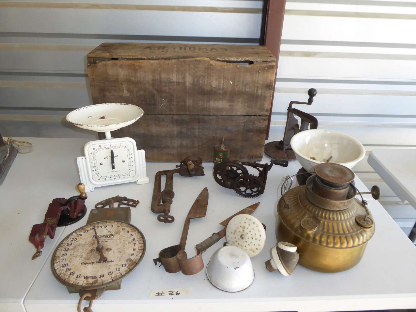 Lot # 26 - Vintage Scales, Lamp & Collectibles  (main image)