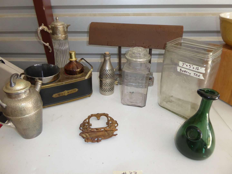 Lot # 33 - Vintage Glass Battery Jar, Kis Me Jar, Decanter Music Box & More   (main image)