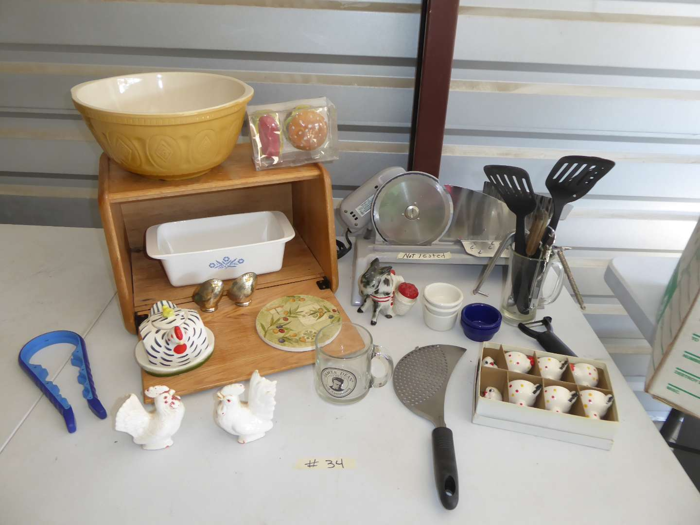 Lot # 34 - Kitchen Lot (Egg Cups, Bread Box & Meat Slicer)  (main image)