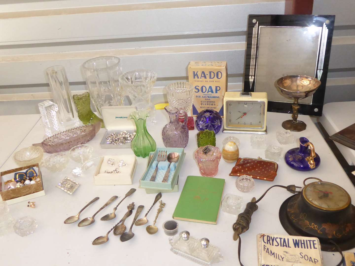 Lot # 36 - Glass Vases, Plated Spoons, Jewelry & Vintage Collectibles  (main image)