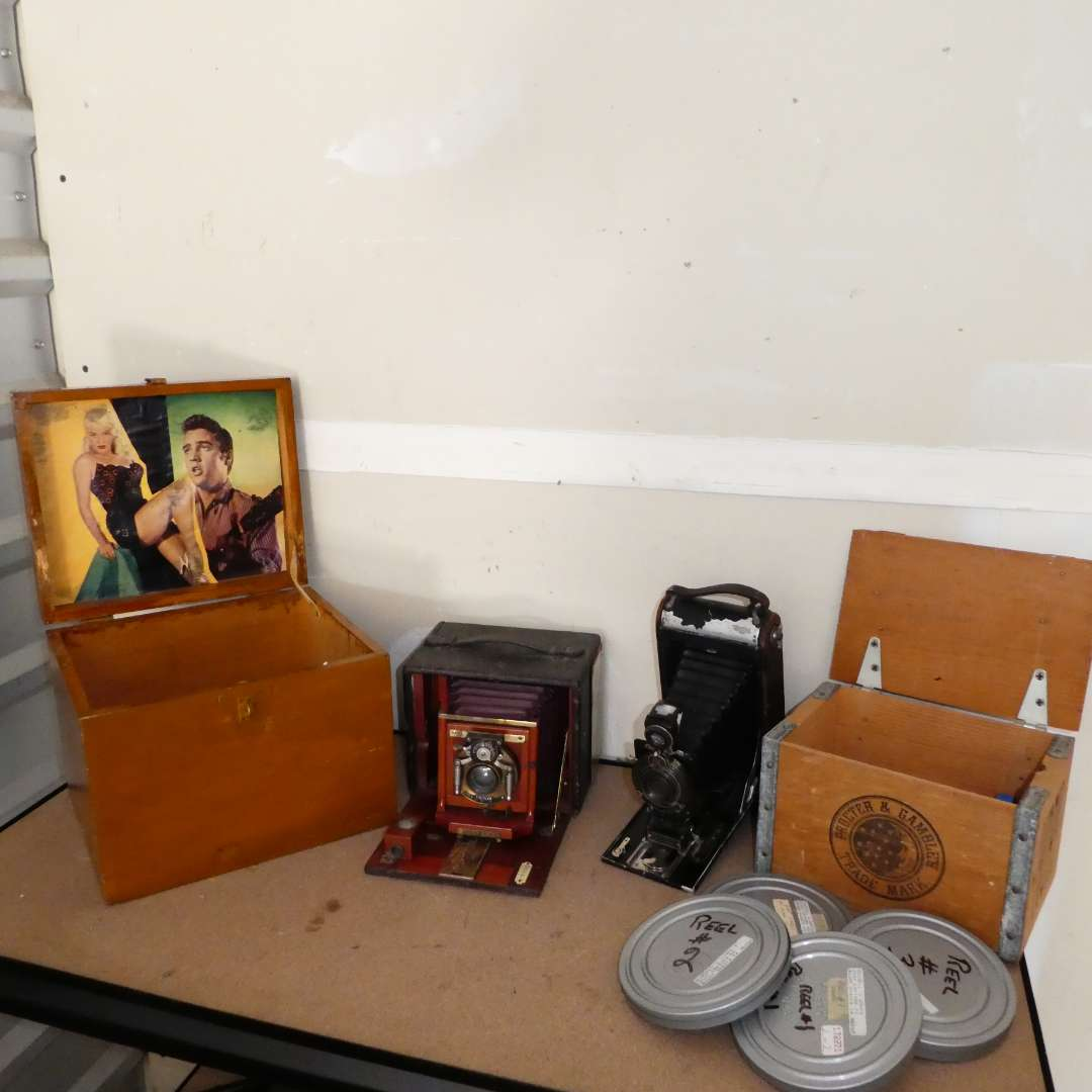 Lot # 247 - Vintage Cameras, Proctor & Gambles Trade Mark Box and Rolls of use Film (main image)
