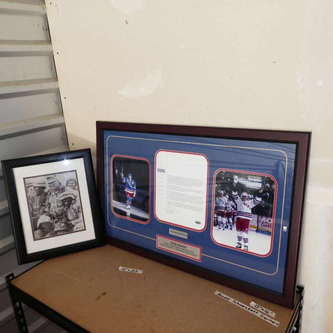 Lot # 249 - Collectible Arnold Schwarzkoff Signed Print and Collectible Mark Messier Letter to Ranger Fans (main image)