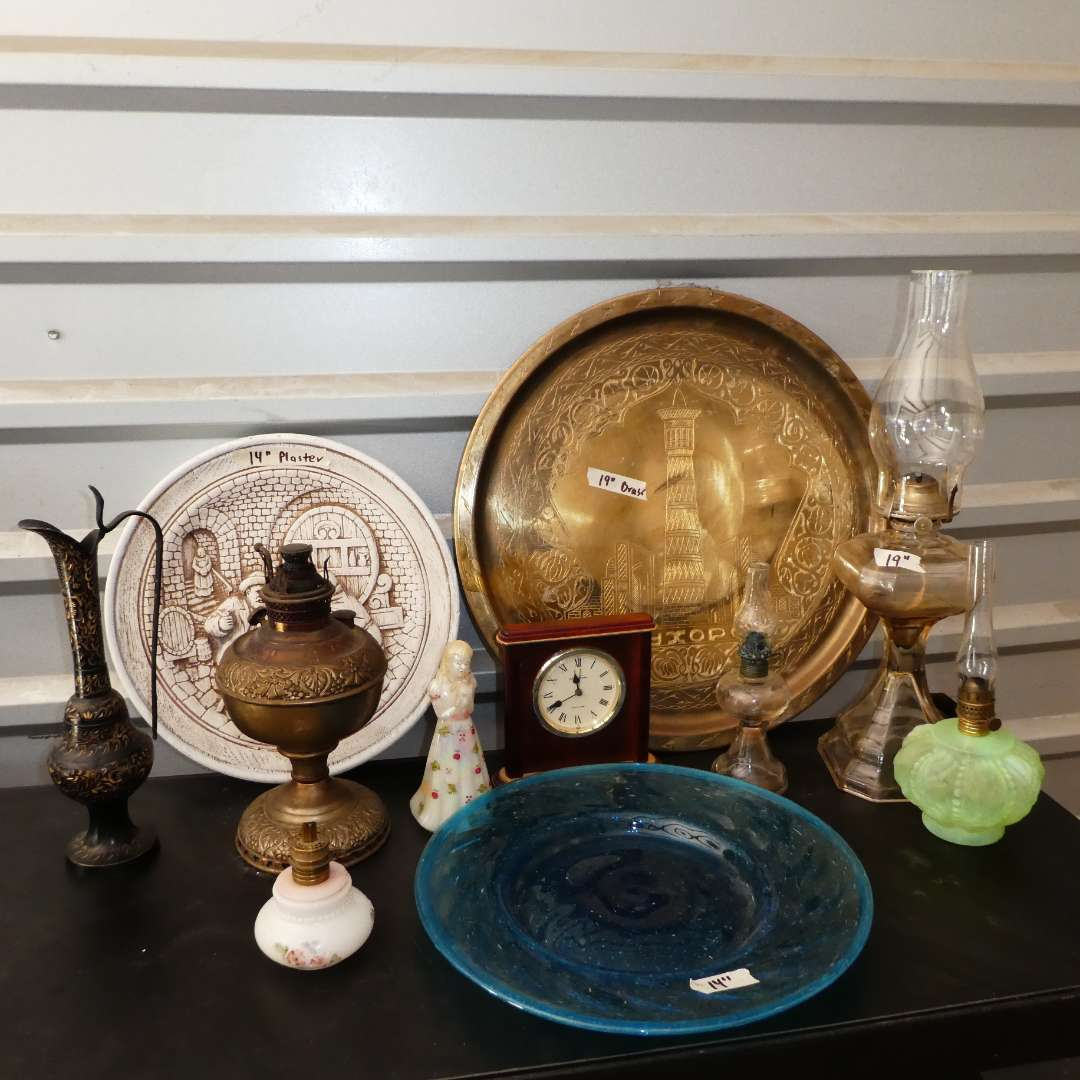 Lot # 251 - Vintage Oil Lamps, Brass Wall Art, Blue Glass Plate and More! (main image)