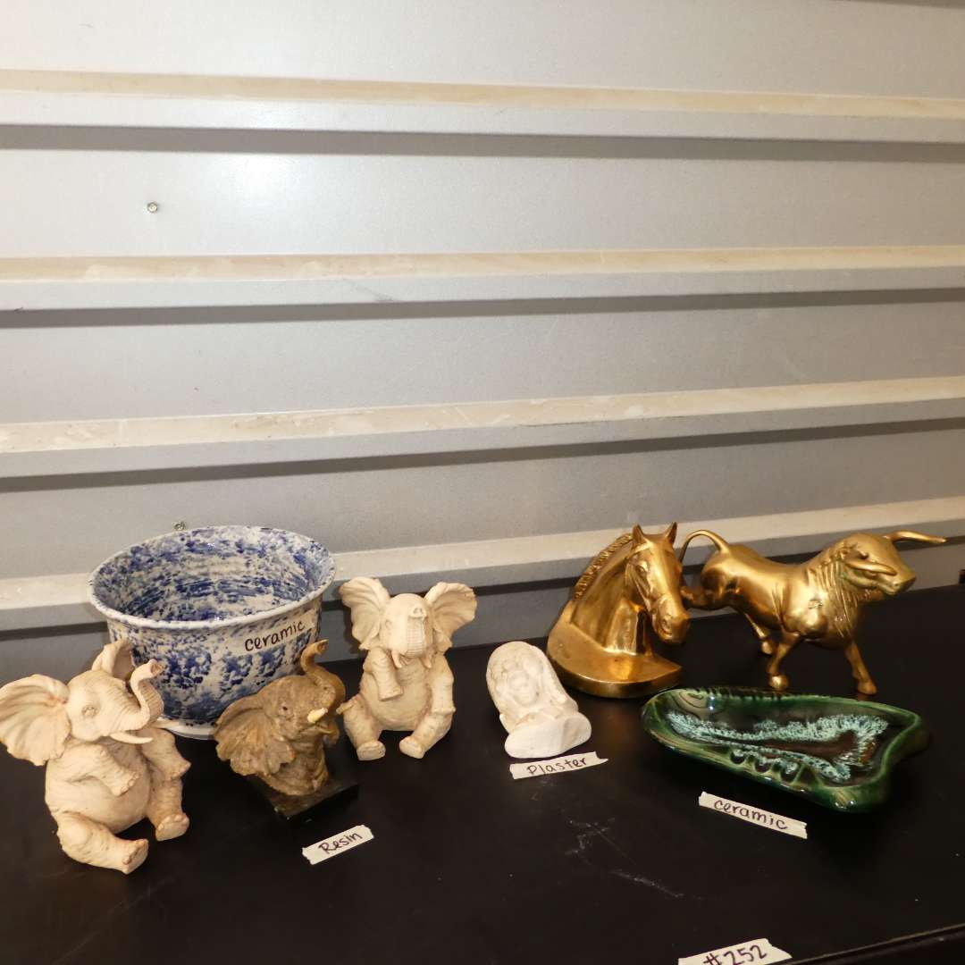 Lot # 252 - Solid Brass Figurines, Resins Elephants, Ceramic Ash Tray, Bowl and More! (main image)