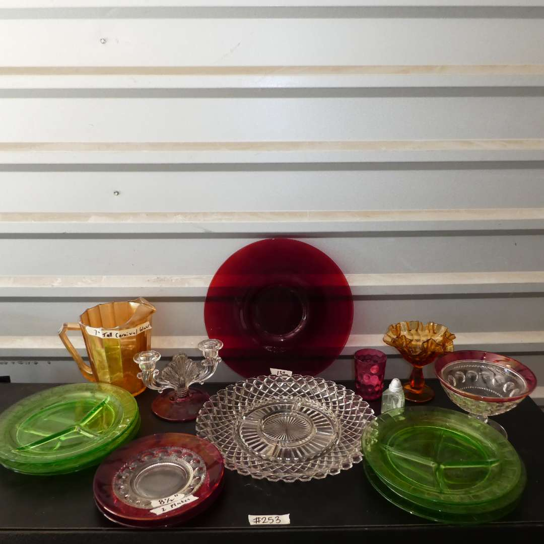 Lot # 253 - Vintage Green Glass Plates, Carnival Glass Pitcher, Cranberry Glass Pieces and More! (main image)