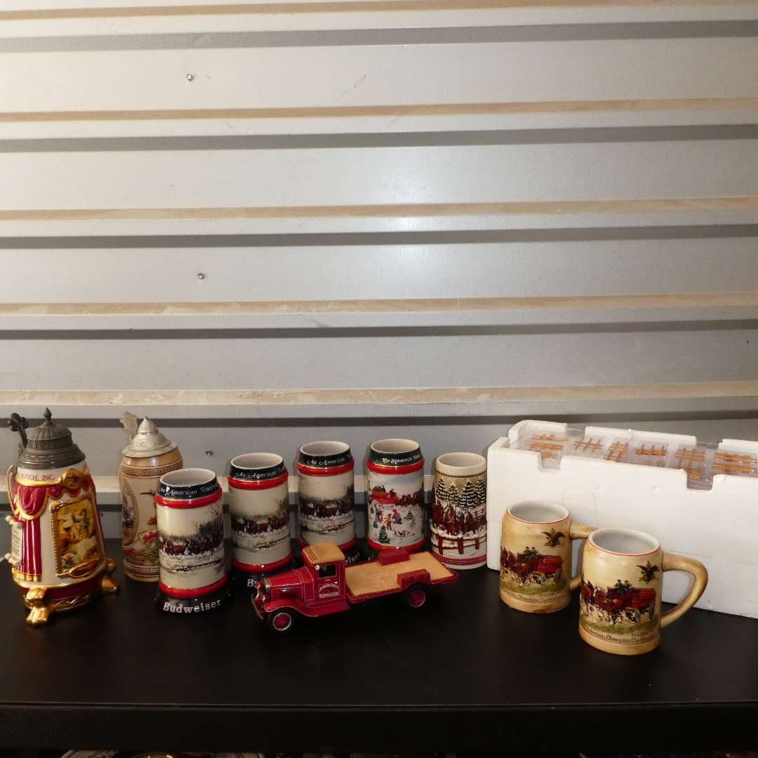 Lot # 255 - Collectible Diecast Metal Budweiser Delivery Truck and a Collection of Beer Steins (main image)