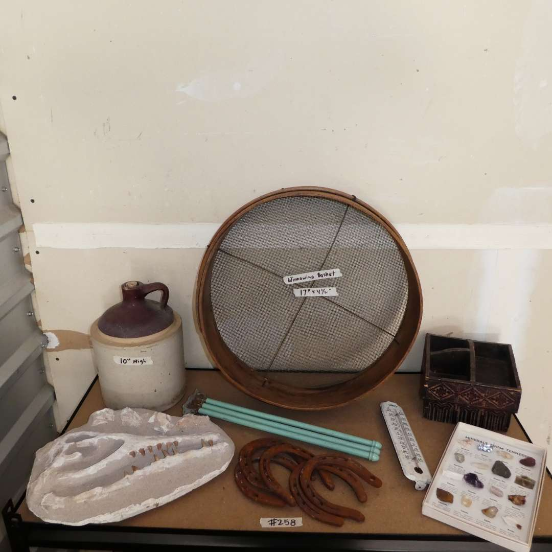 """Lot # 258 - Vintage Variety Lot (Whiskey Jug, Winnowing Basket, Metal Thermometer, Horseshoes, Plaster """"Fossil"""" and More)  (main image)"""