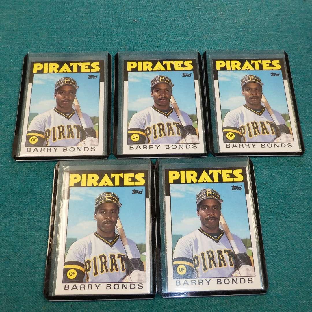Lot # 262 -Five Topps Barry Bonds Baseball Rookie Cards (main image)