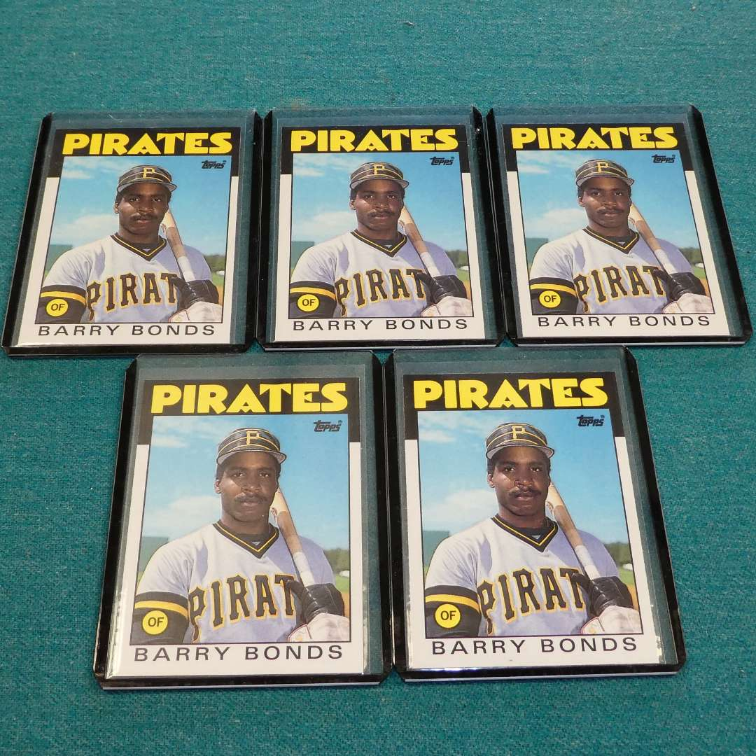 Lot # 263 - Five Topps Barry Bonds Baseball Rookie Cards (main image)