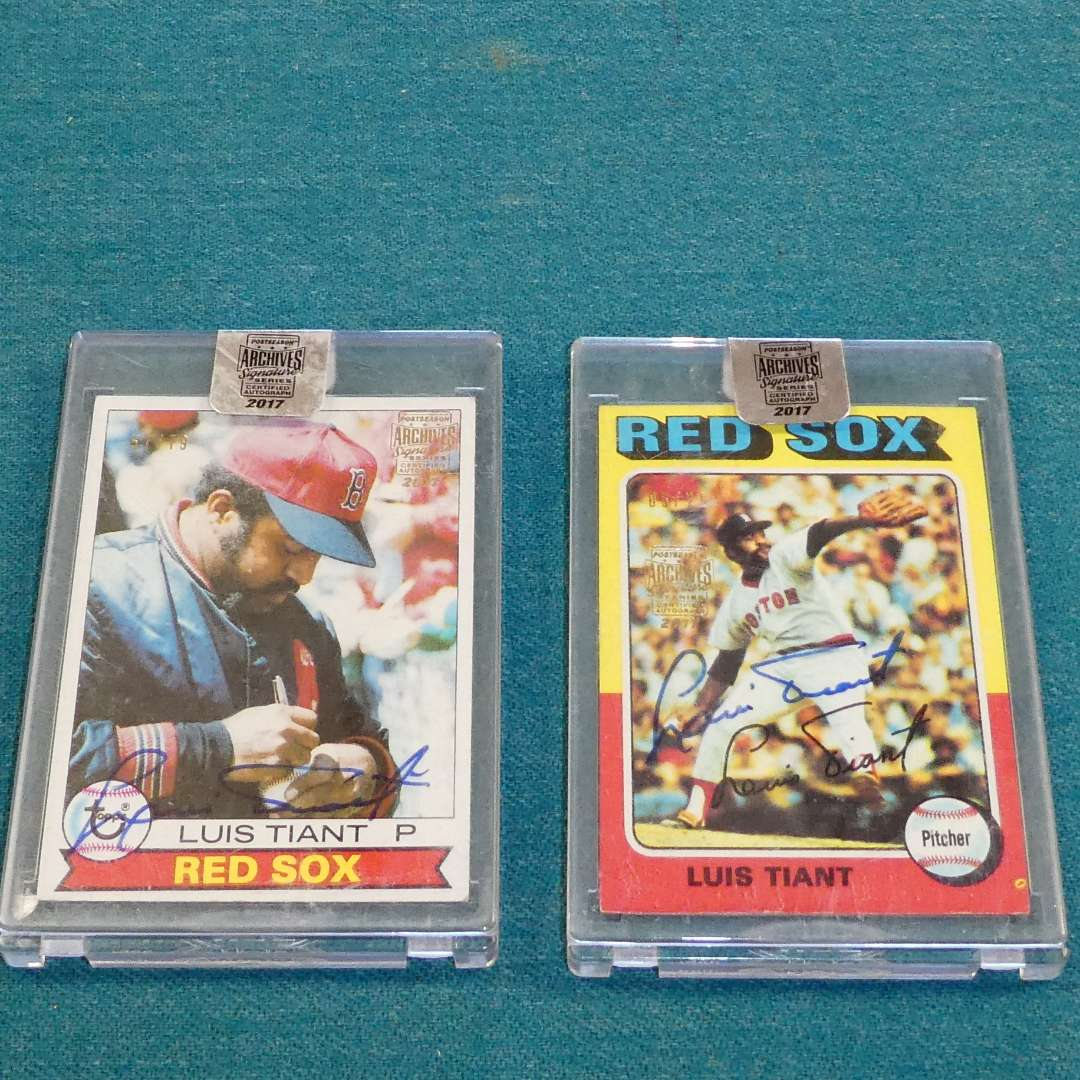 Lot # 270 - Two Autographed Luis Tiant 2017 Topps Archives Postseason Signature Series Baseball Cards  (main image)