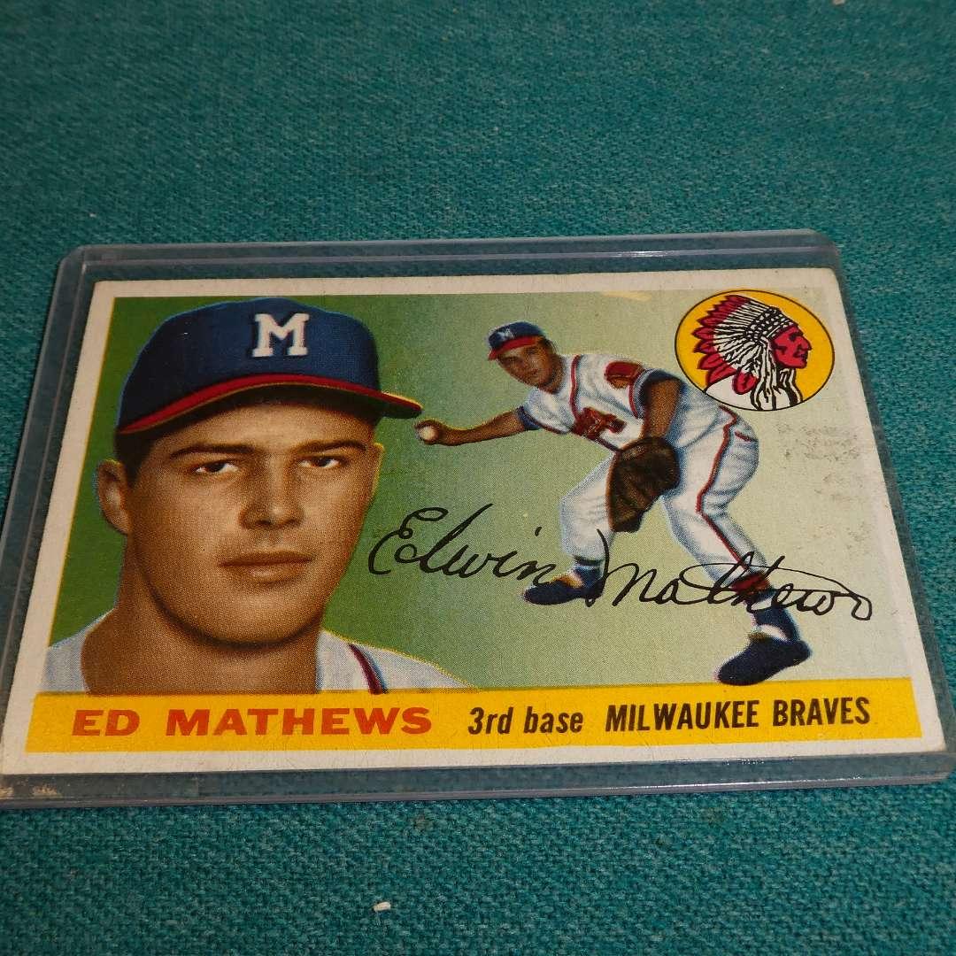Lot # 287 - Topps #155 Ed Mathews Baseball Card  (main image)