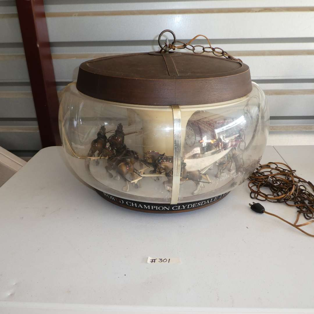 Lot # 301 -Vintage Budweiser rotating Clydesdale Beer Hanging Lamp (main image)