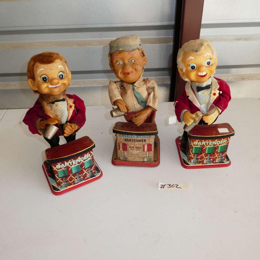 Lot # 302 - Three Vintage Battery Operated Rosko Toys (Bartenders & Charley Weaver)  (main image)
