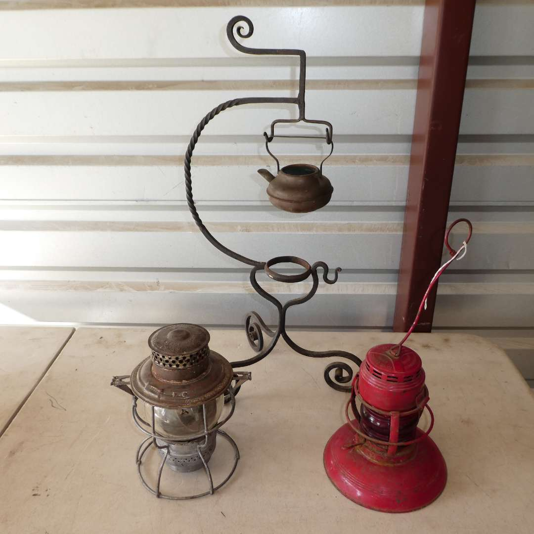 Lot # 303 - Two Vintage Railroad Lanterns w/ Kettle and Metal Stand (main image)