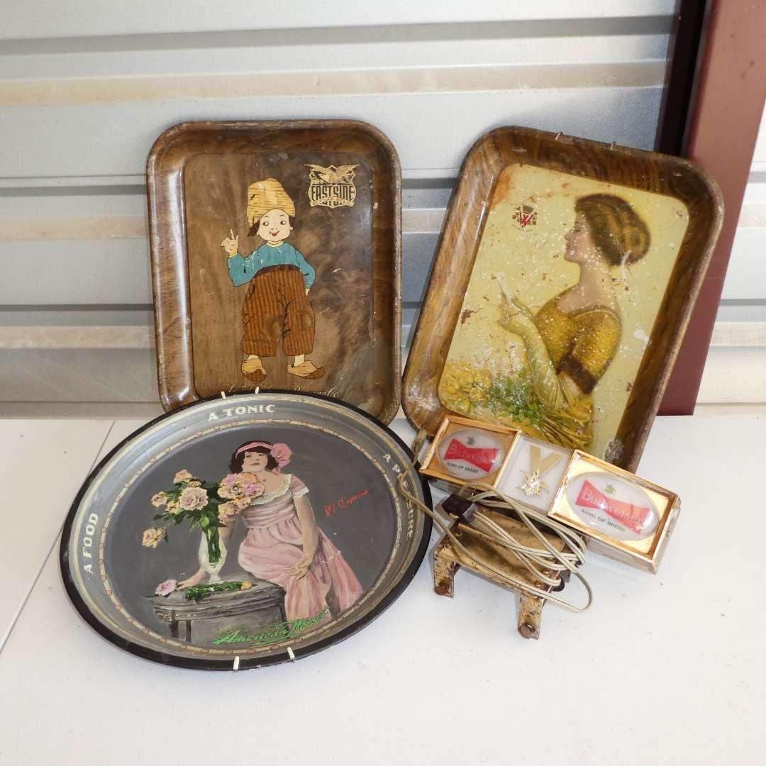 Lot # 305 - Three Vintage Metal Advertising Beer Trays and Advertising Budweiser Light (main image)