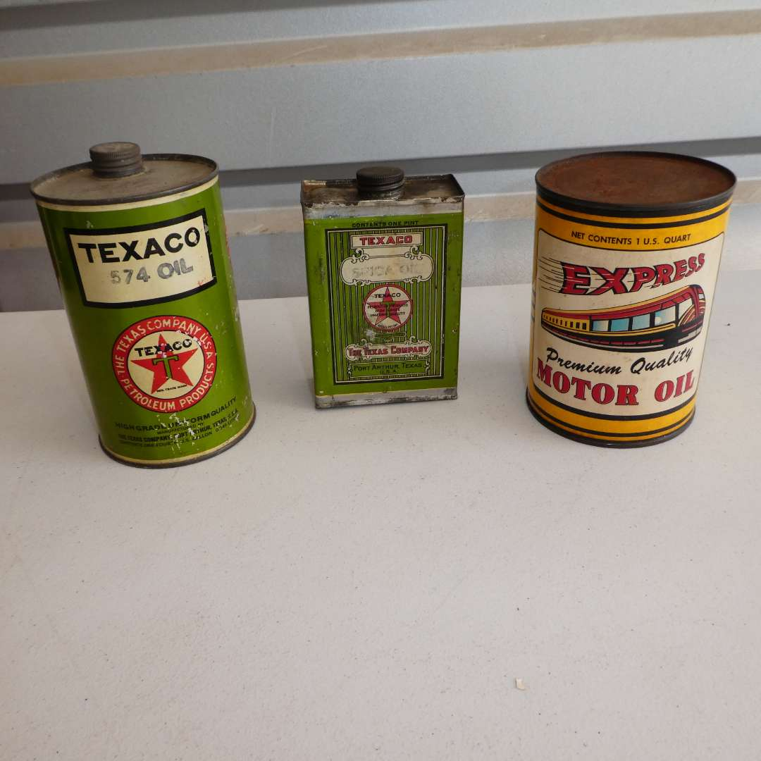 Lot # 308 - Two Vintage Texaco Motor Oil Cans and an Express Oil Can (main image)