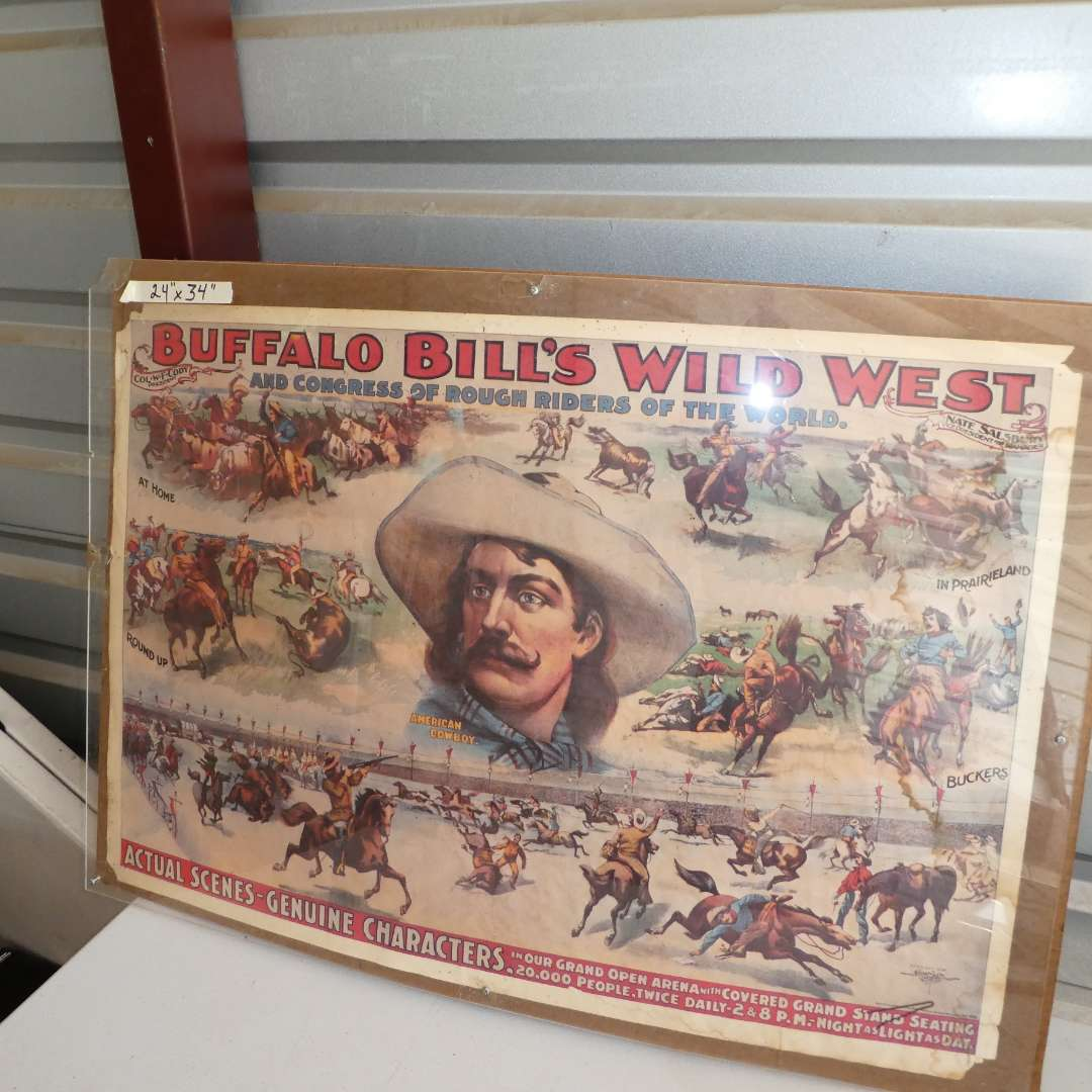 Lot # 311 - Vintage Buffalo Bill's Wild West Poster (See all Photos) (main image)