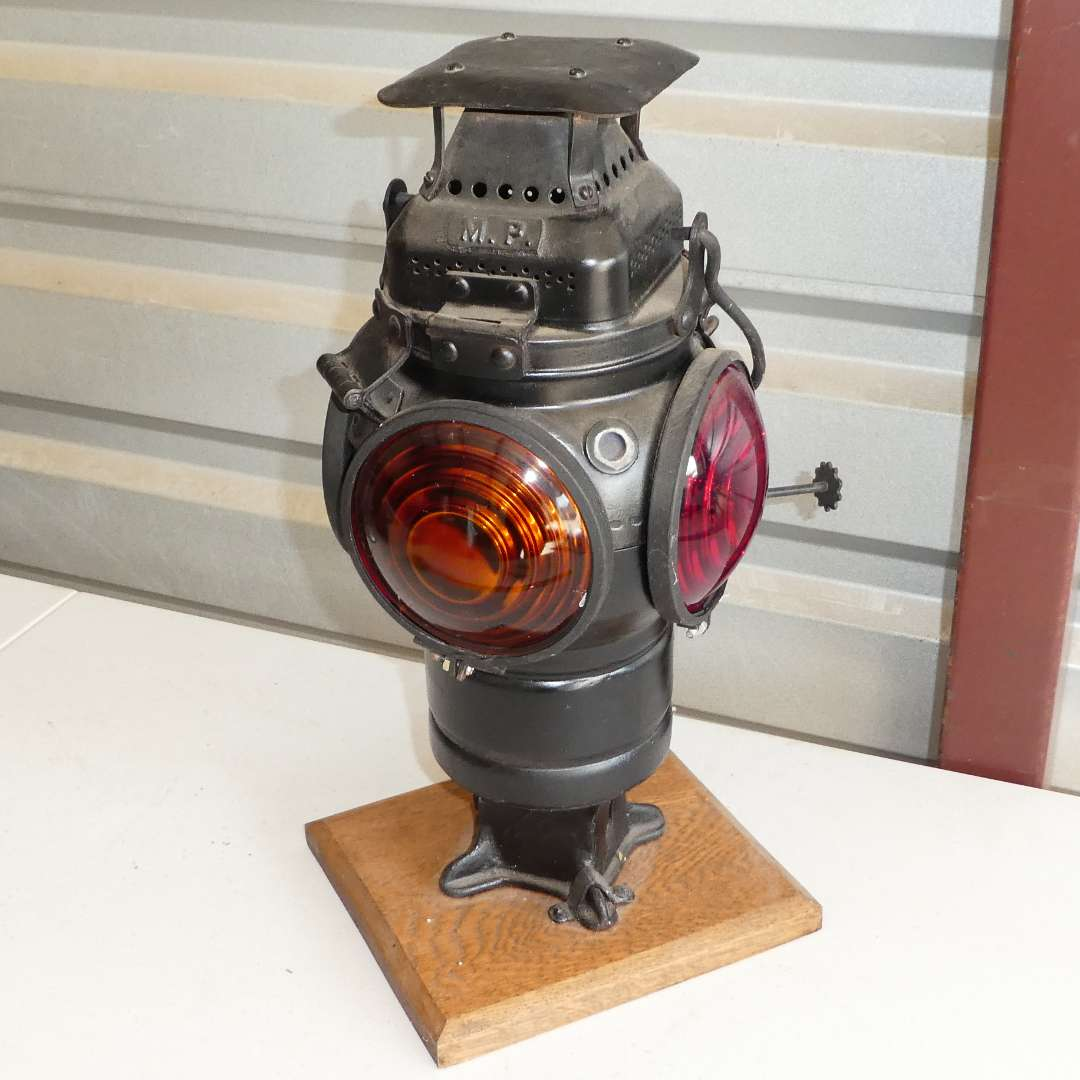 Lot # 313 - Vintage Railroad Switch Train Caboose Lantern Repurposed into Table Lamp (Not Tested)  (main image)