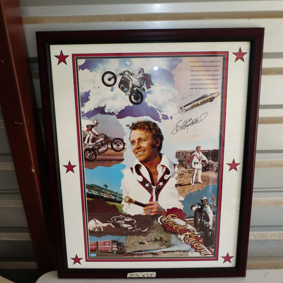 Lot # 315 - Framed Collectible Signed Evil Knievel Poster  (main image)