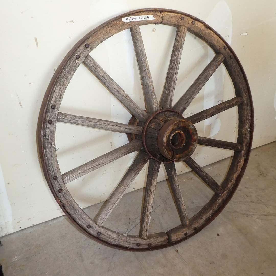 Lot # 200 - Antique Primitive Wood and Iron Wagon Wheel (main image)