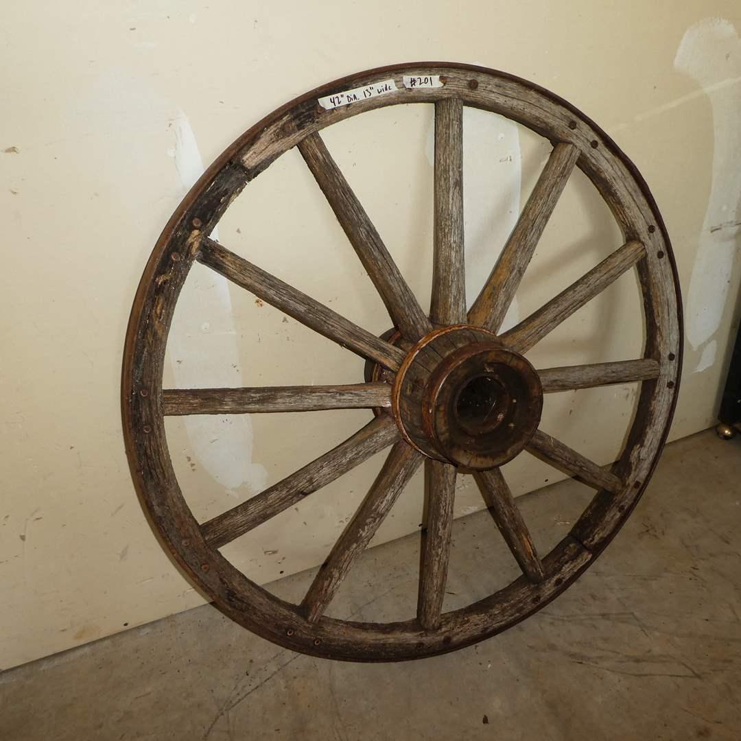 Lot # 201 - Antique Primitive Wood and Iron Wagon Wheel (main image)
