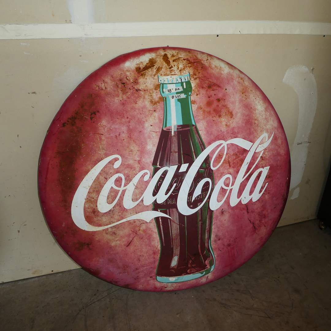 Lot # 205 - Large Vintage Metal Coca-Cola Button Advertising Sign  (main image)