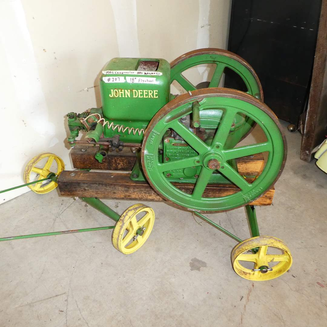 Lot # 207 -1.5 HP John Deere Hit Miss Gas Engine w/ Correct Pull Cart Hand Truck (main image)