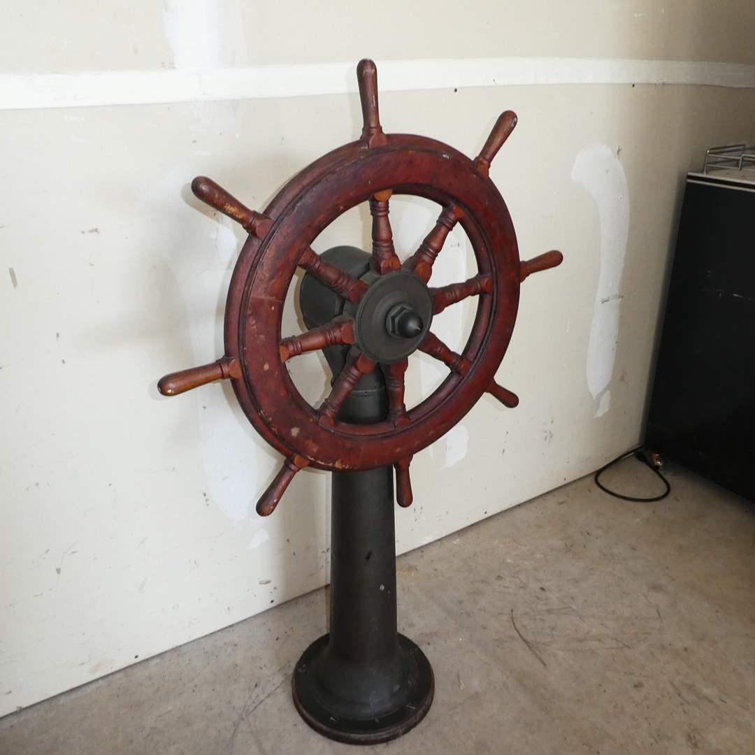 Lot # 208 - Nautical Wood Ship Stirring Wheel on Metal Pedestal (main image)